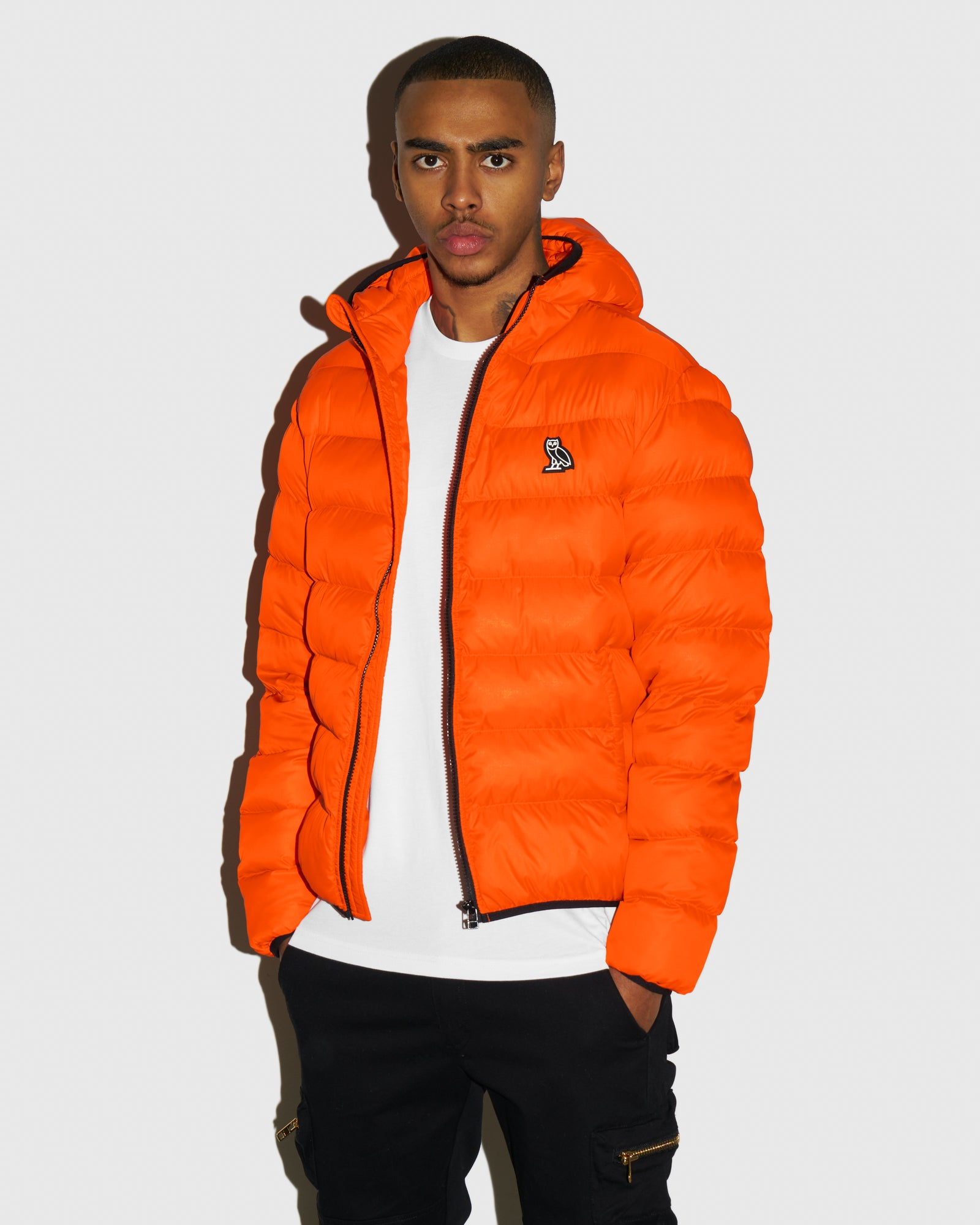 HOODED PUFFER JACKET - ORANGE IMAGE #2