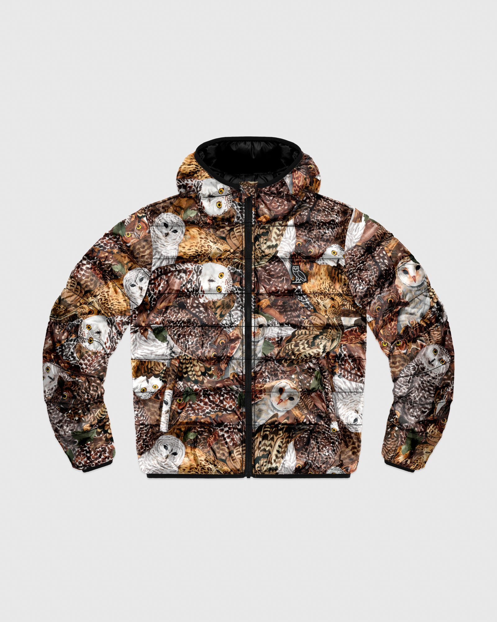 HOODED PUFFER JACKET - OWL PRINT IMAGE #1