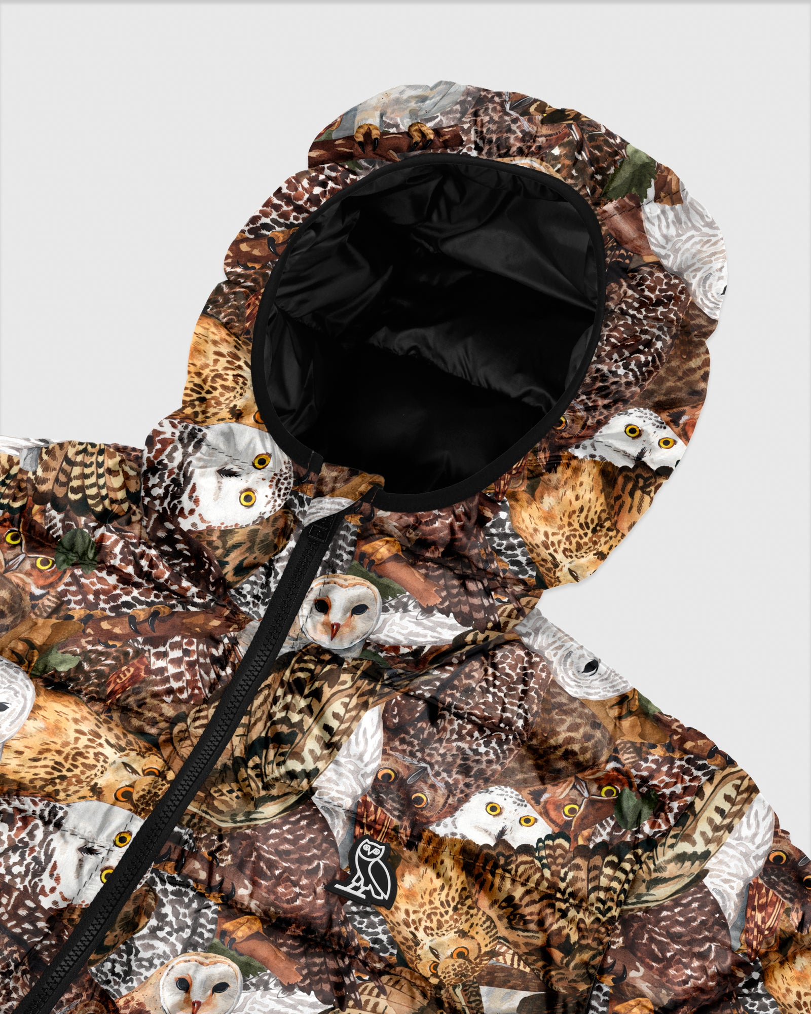 HOODED PUFFER JACKET - OWL PRINT IMAGE #4