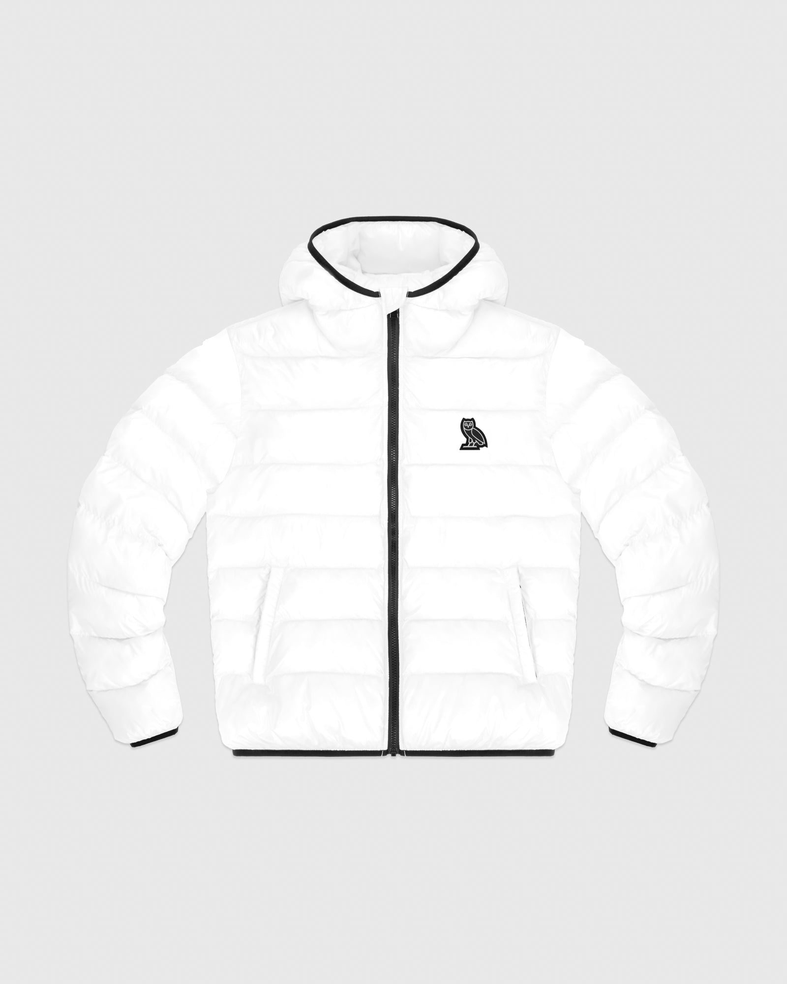 HOODED PUFFER JACKET - WHITE IMAGE #1