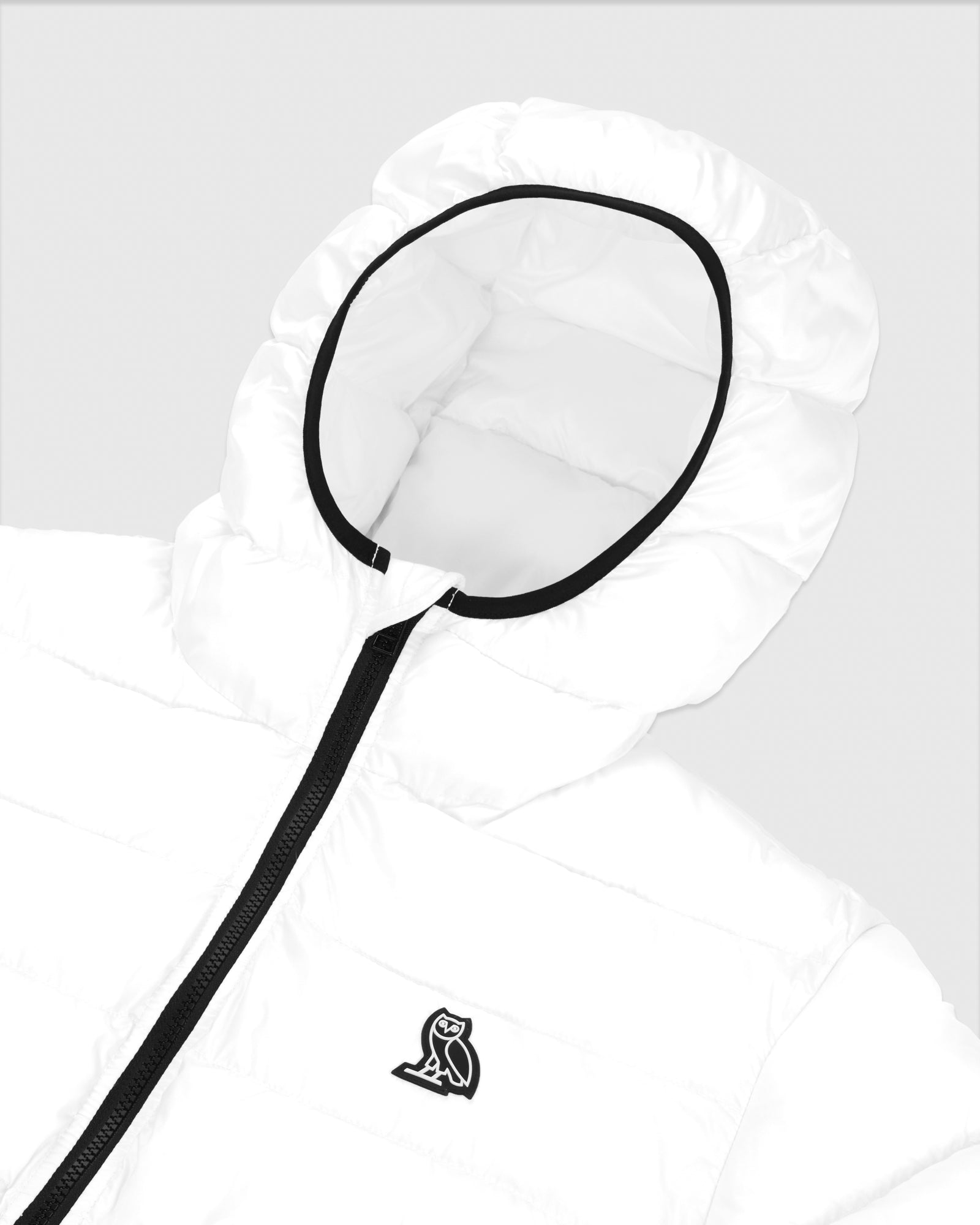 HOODED PUFFER JACKET - WHITE IMAGE #4