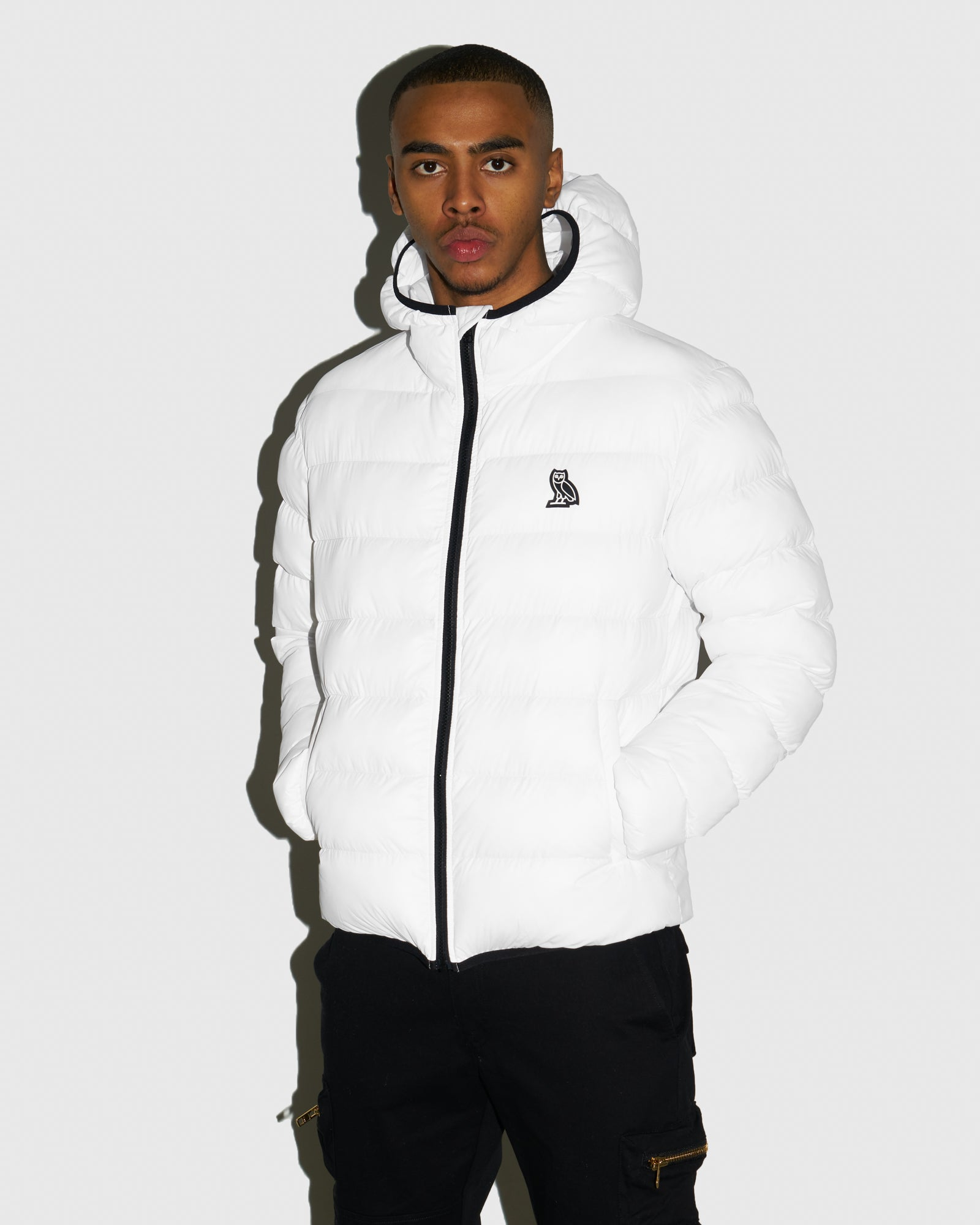 HOODED PUFFER JACKET - WHITE IMAGE #2