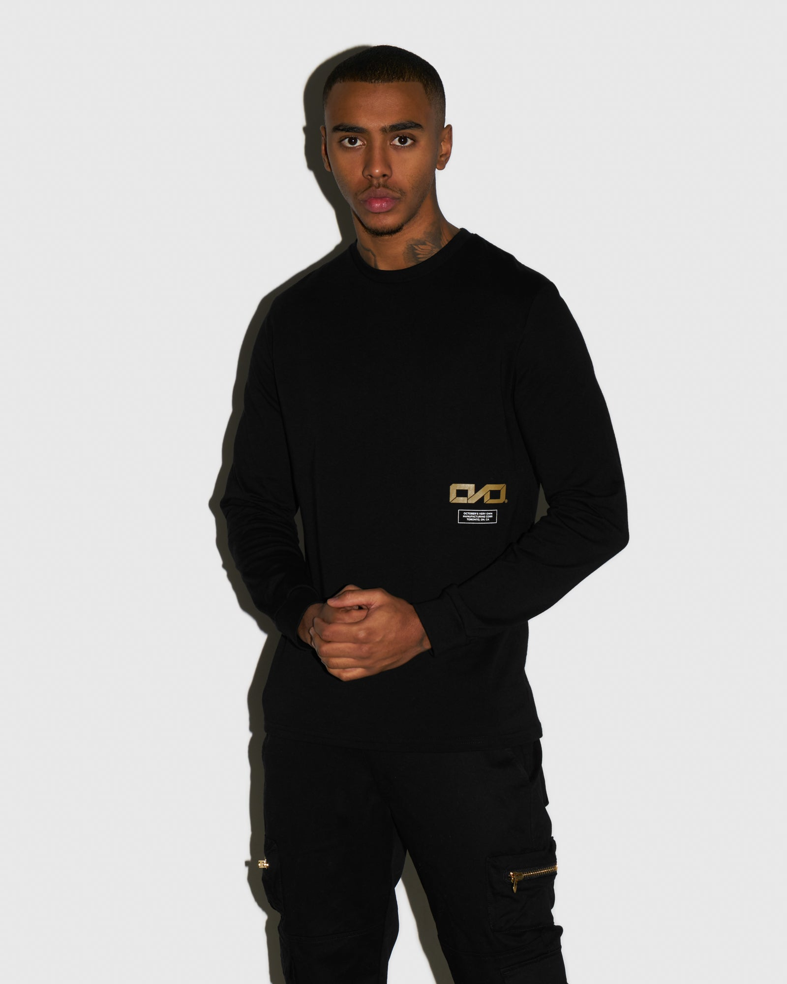 OVO INDUSTRIES LONGSLEEVE T-SHIRT - BLACK IMAGE #2