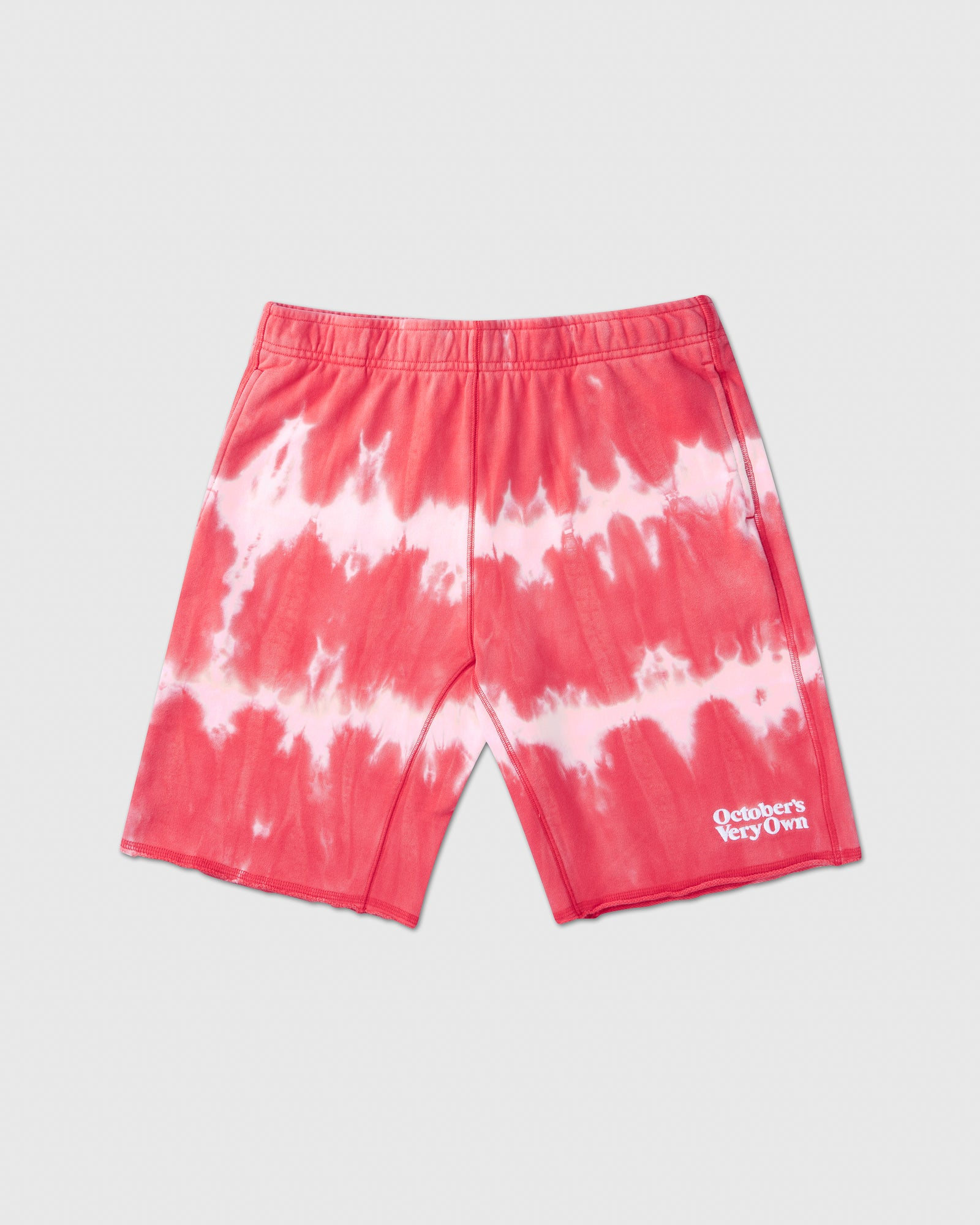 OVO MARBLE TIE DYE SWEAT SHORT - RED/PINK IMAGE #1