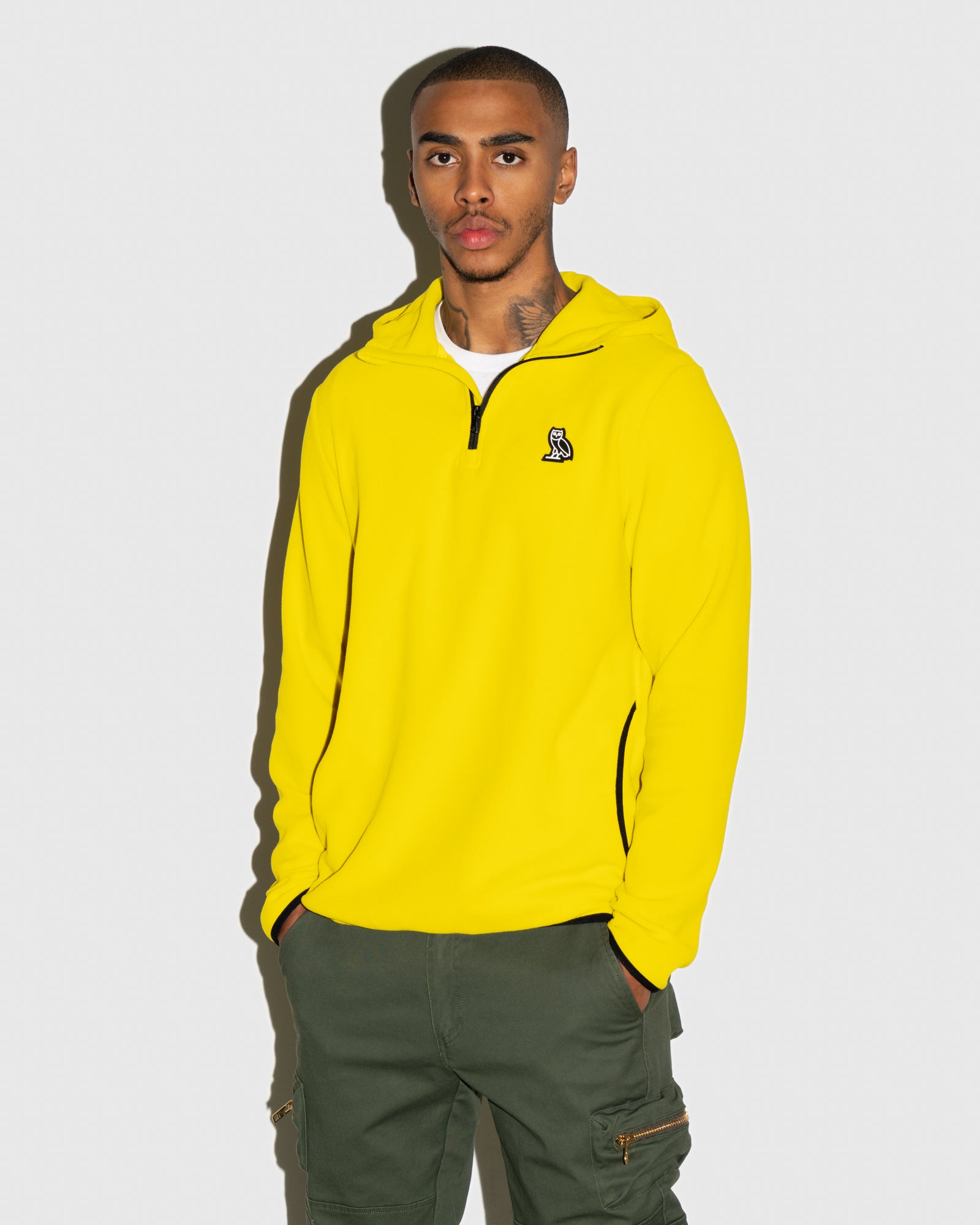MICROFLEECE QUARTER ZIP HOODIE - YELLOW IMAGE #2