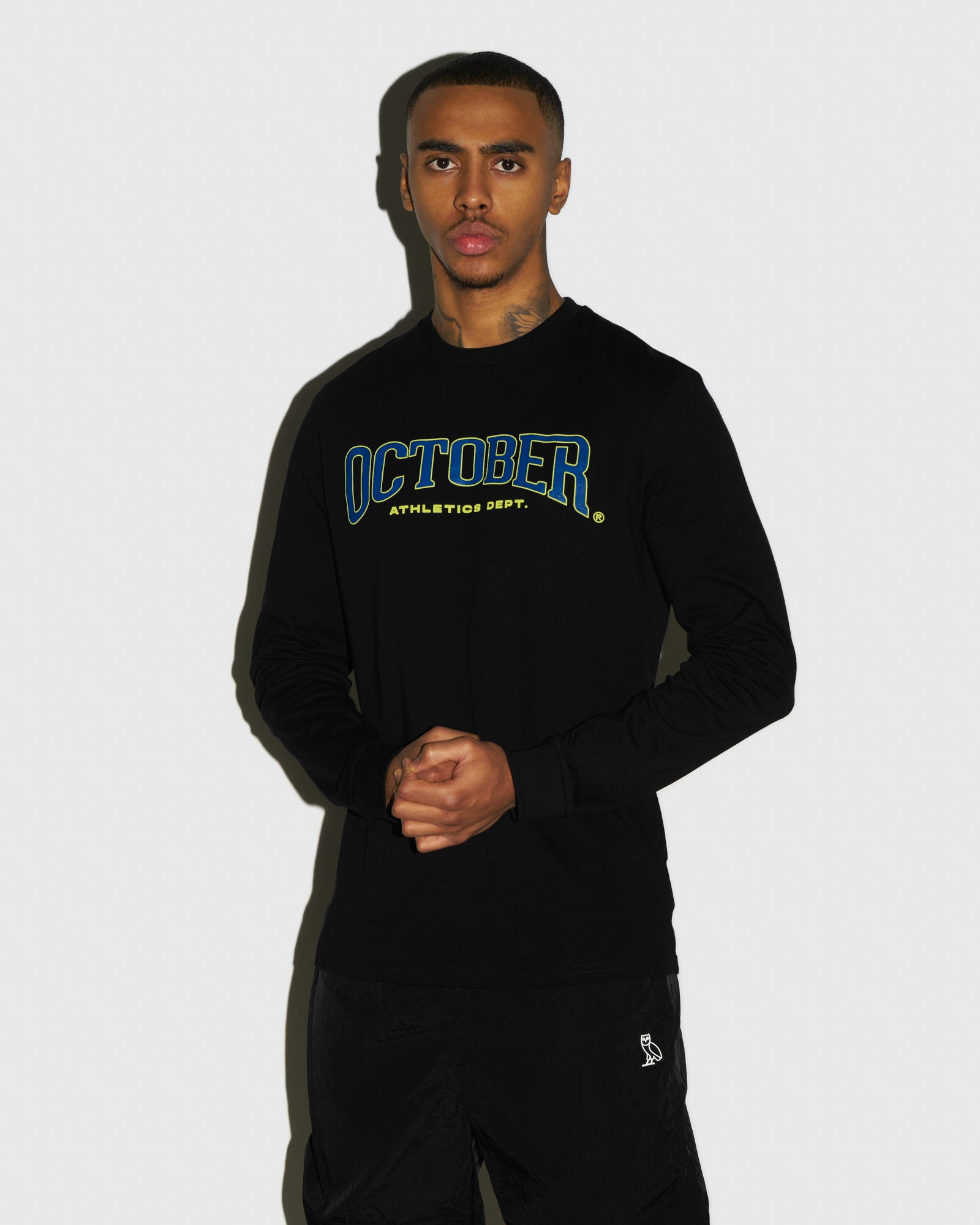OCTOBER ATHLETICS LONGSLEEVE T-SHIRT - BLACK IMAGE #2