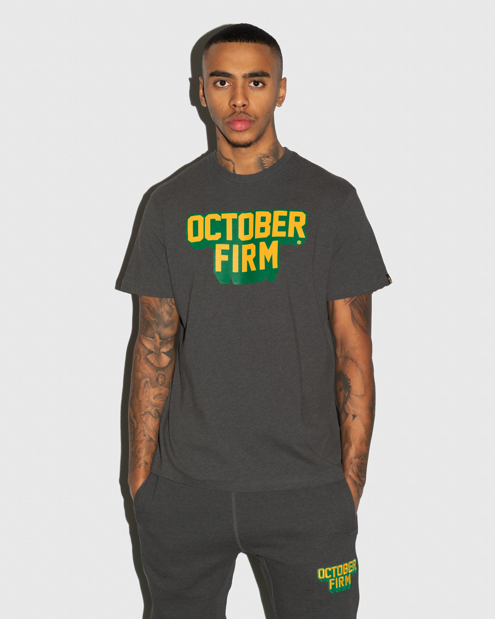 OCTOBER FIRM SHADOW T-SHIRT - CHARCOAL HEATHER IMAGE #2