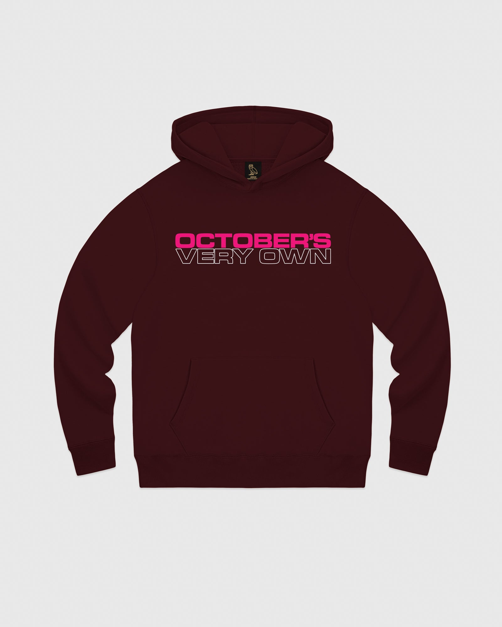 OCTOBER OUTLINE HOODIE - BURGUNDY IMAGE #1