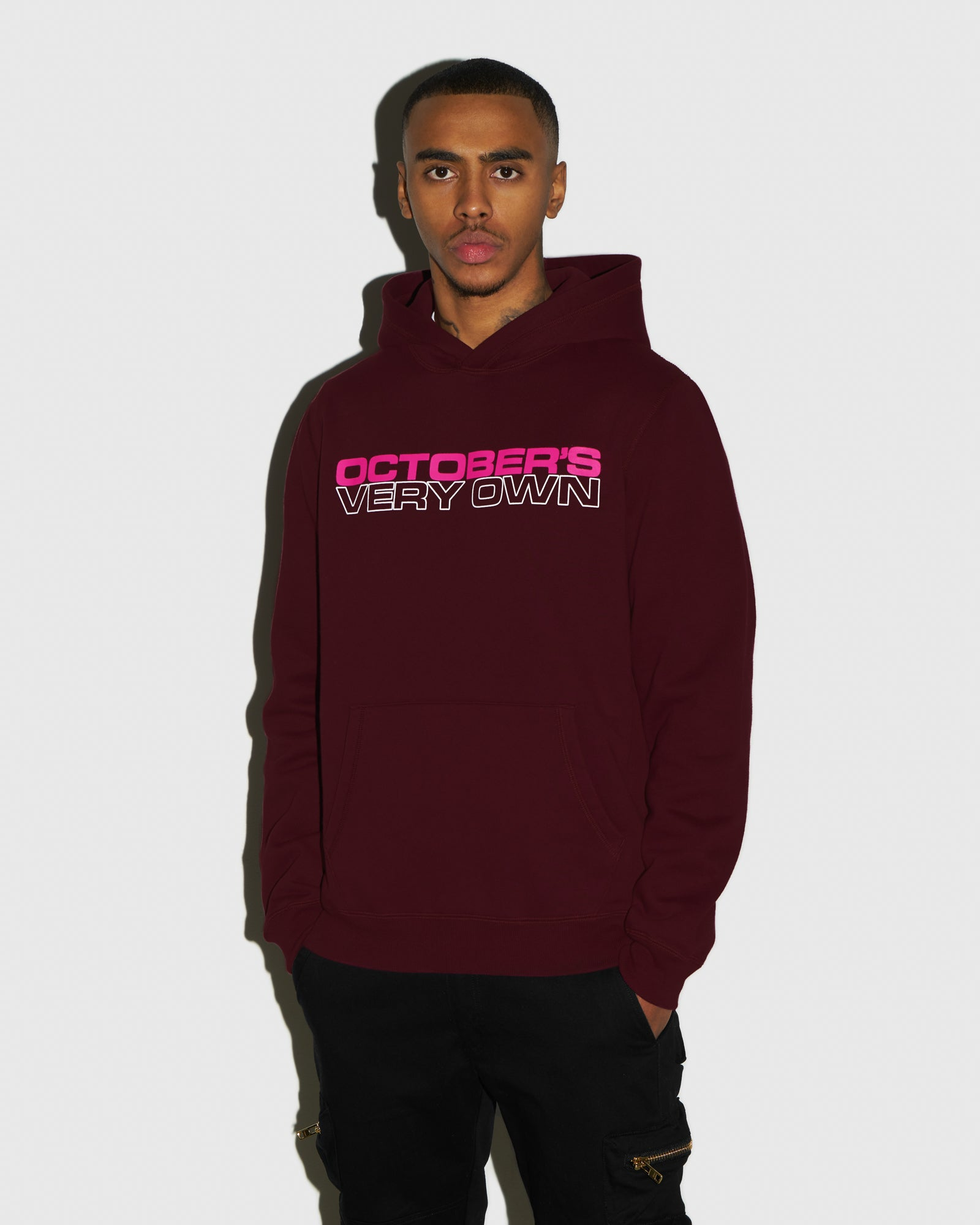 OCTOBER OUTLINE HOODIE - BURGUNDY IMAGE #2