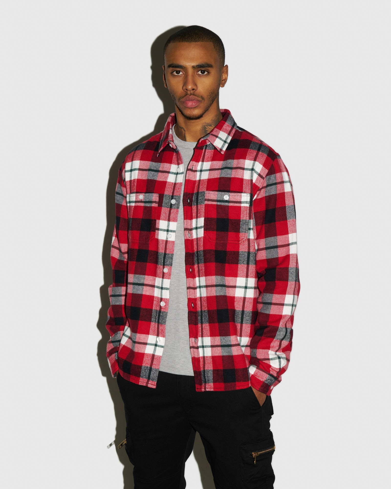 CIRCLE WORDMARK FLANNEL - RED IMAGE #2