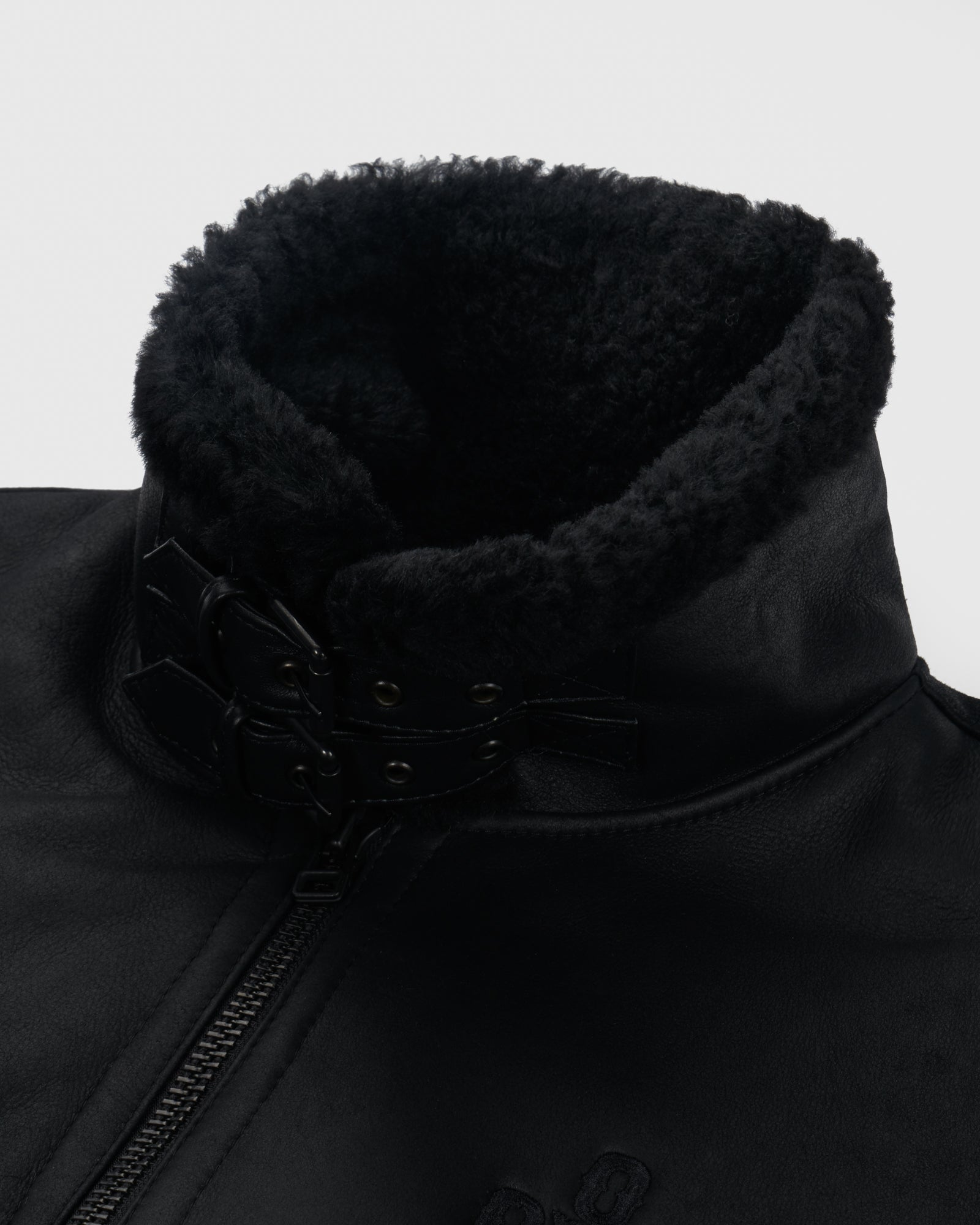 POM POM SHEARLING JACKET - BLACK IMAGE #4
