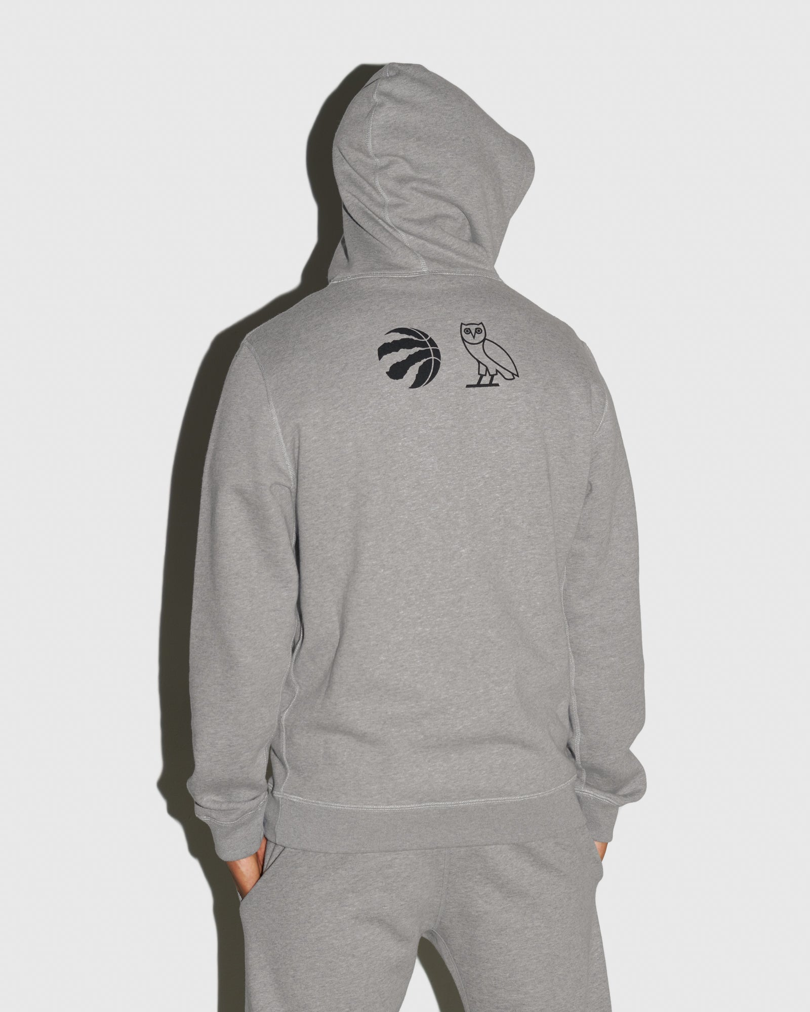 OVO X RAPTORS HOODIE  - HEATHER GREY IMAGE #3