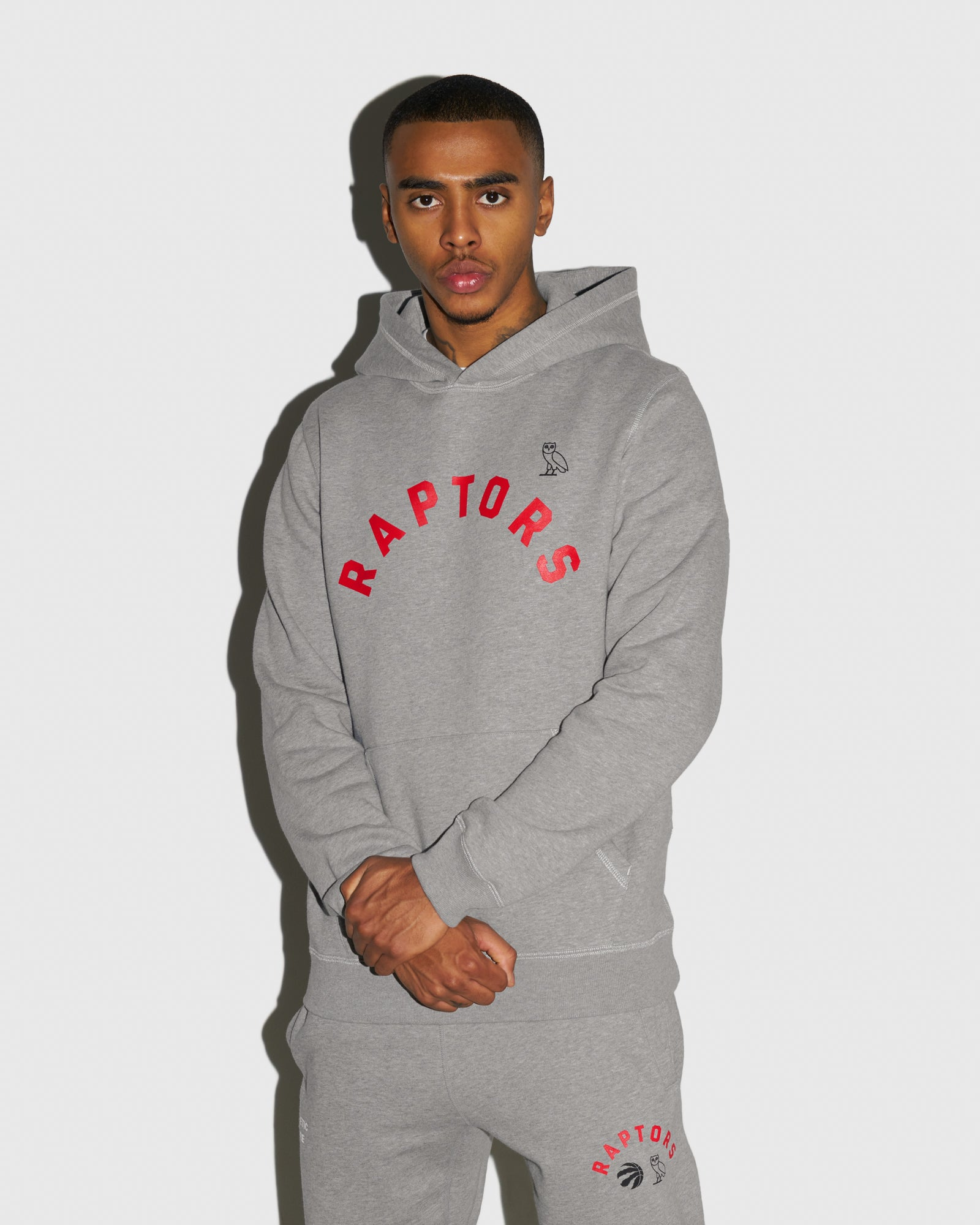 OVO X RAPTORS HOODIE  - HEATHER GREY IMAGE #2