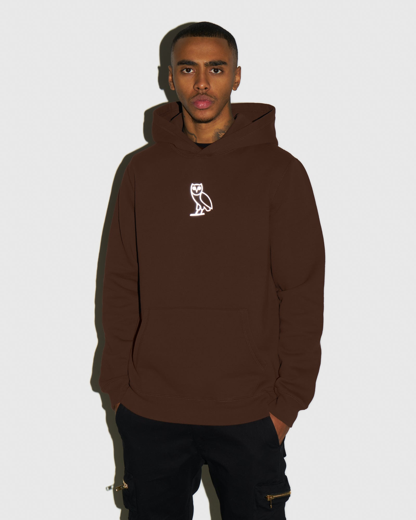 REFLECTIVE CLASSIC OWL HOODIE - BROWN IMAGE #2