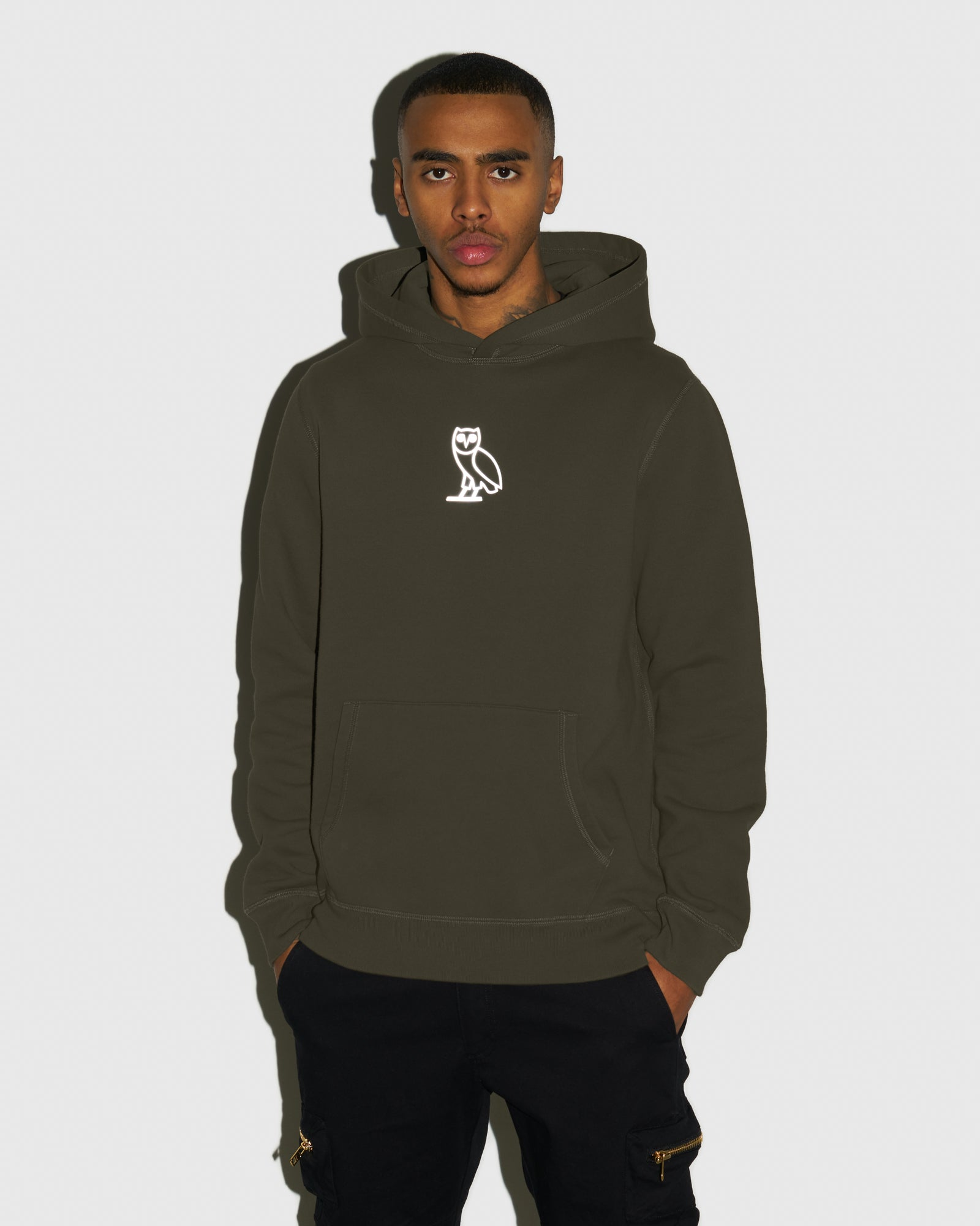 REFLECTIVE CLASSIC OWL HOODIE - LEAF GREEN IMAGE #2
