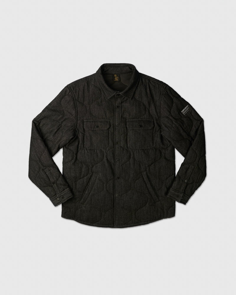 POM POM DENIM QUILTED OVERSHIRT - BLACK
