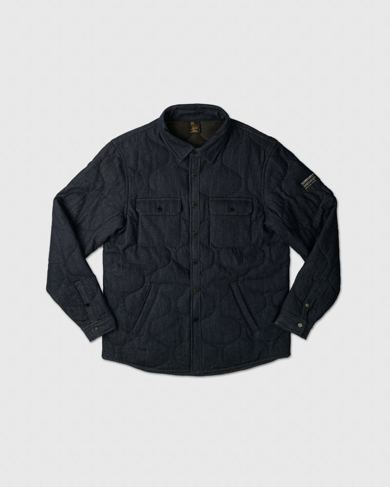 POM POM DENIM QUILTED OVERSHIRT - INDIGO