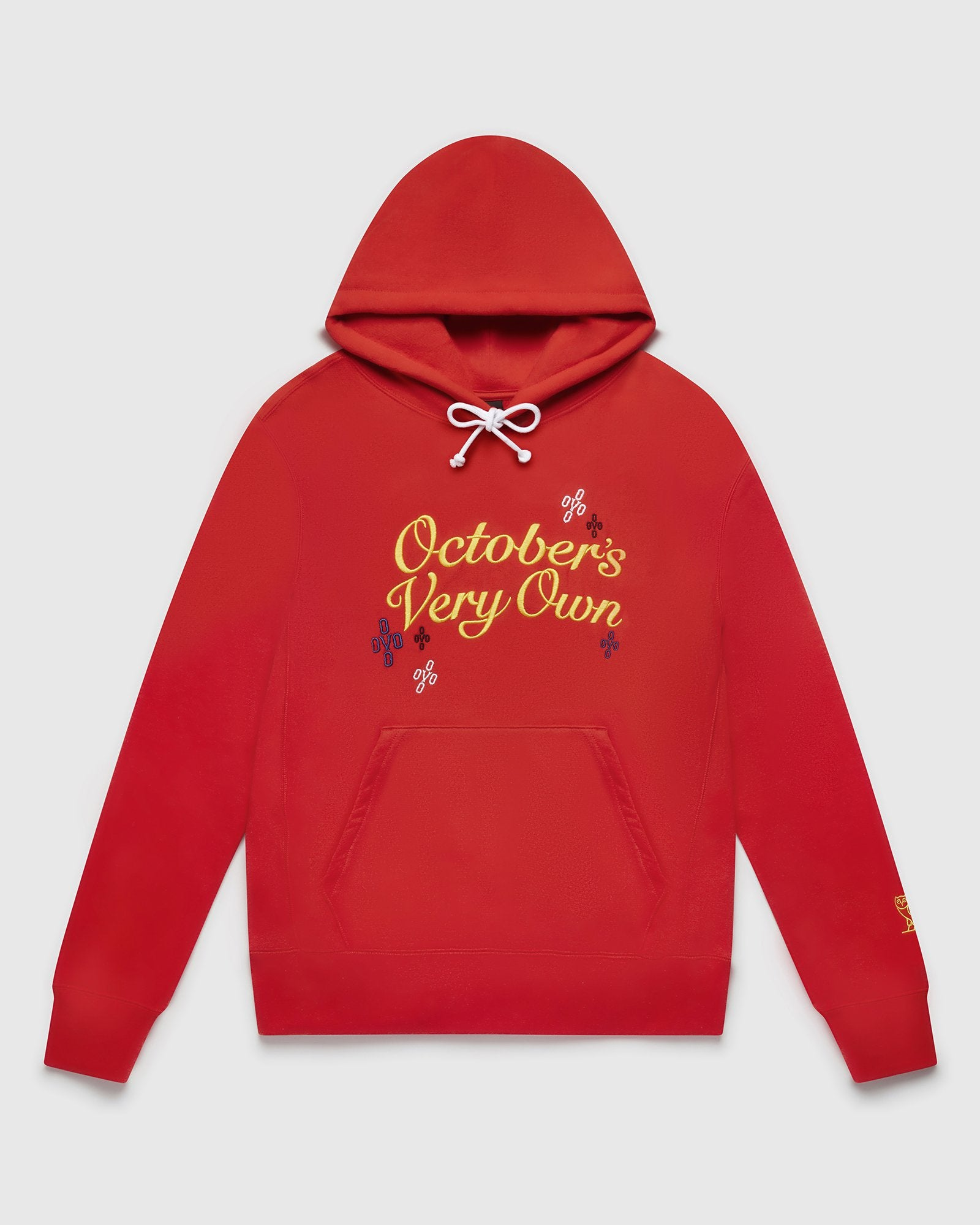 POMPOM SCRIPT HOODIE - RED IMAGE #1