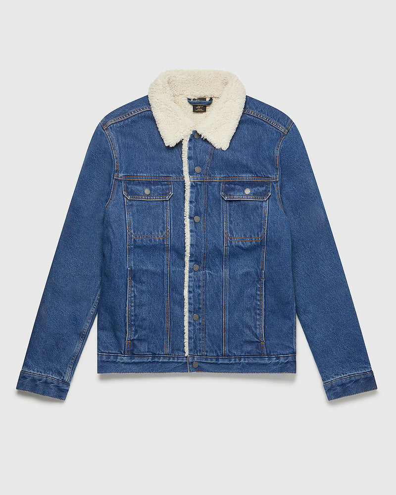 SHEARLING DENIM JACKET - INDIGO