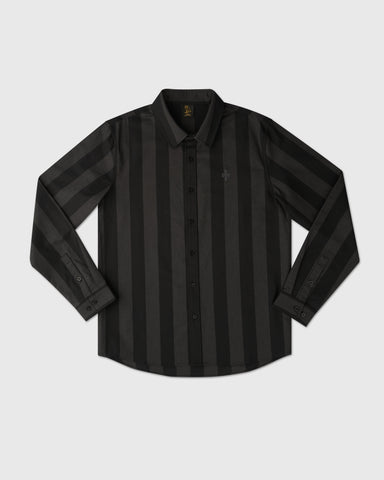 STRIPED OXFORD SHIRT - BLACK