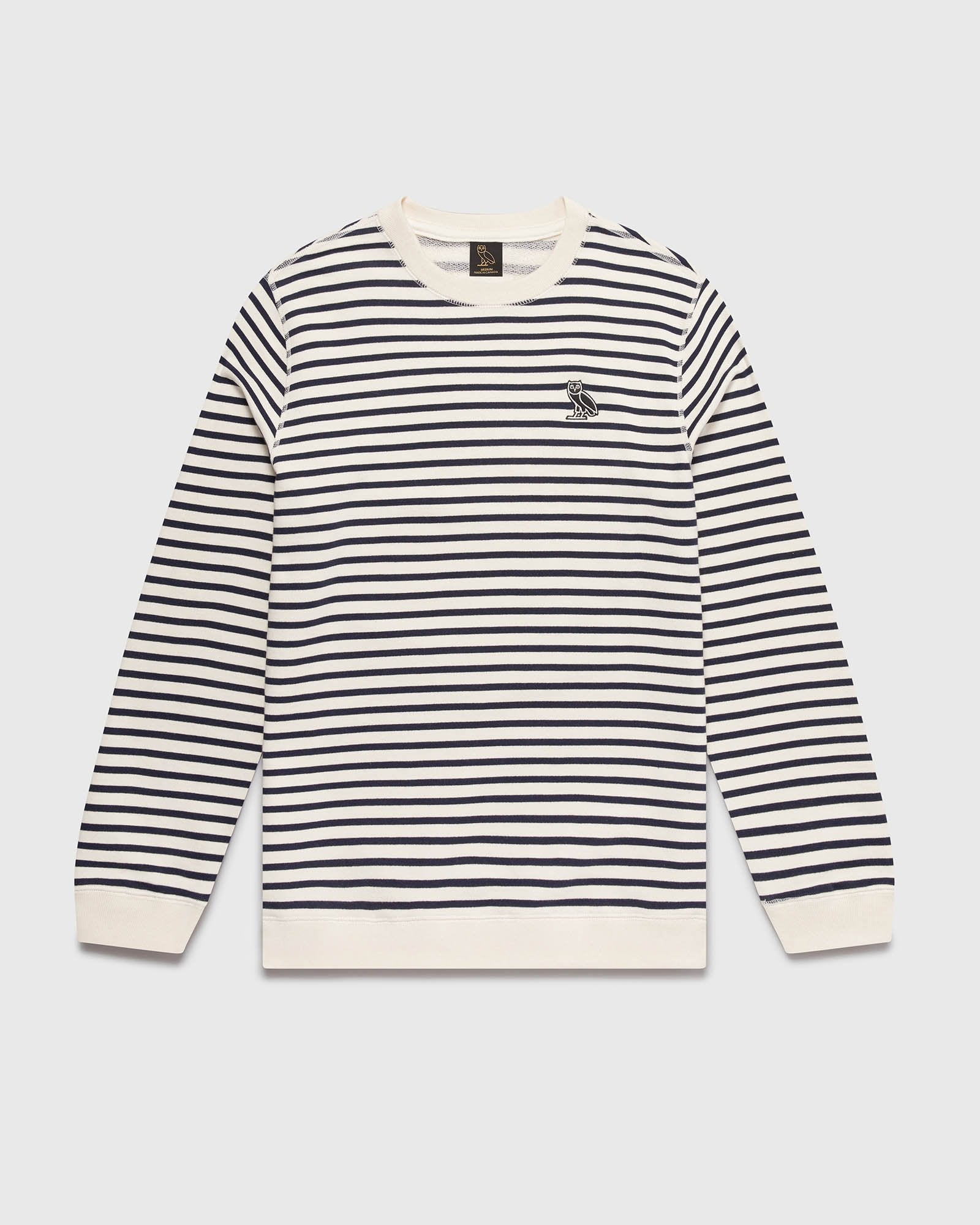 NAUTICAL STRIPE CREWNECK - NAVY/CREAM IMAGE #1