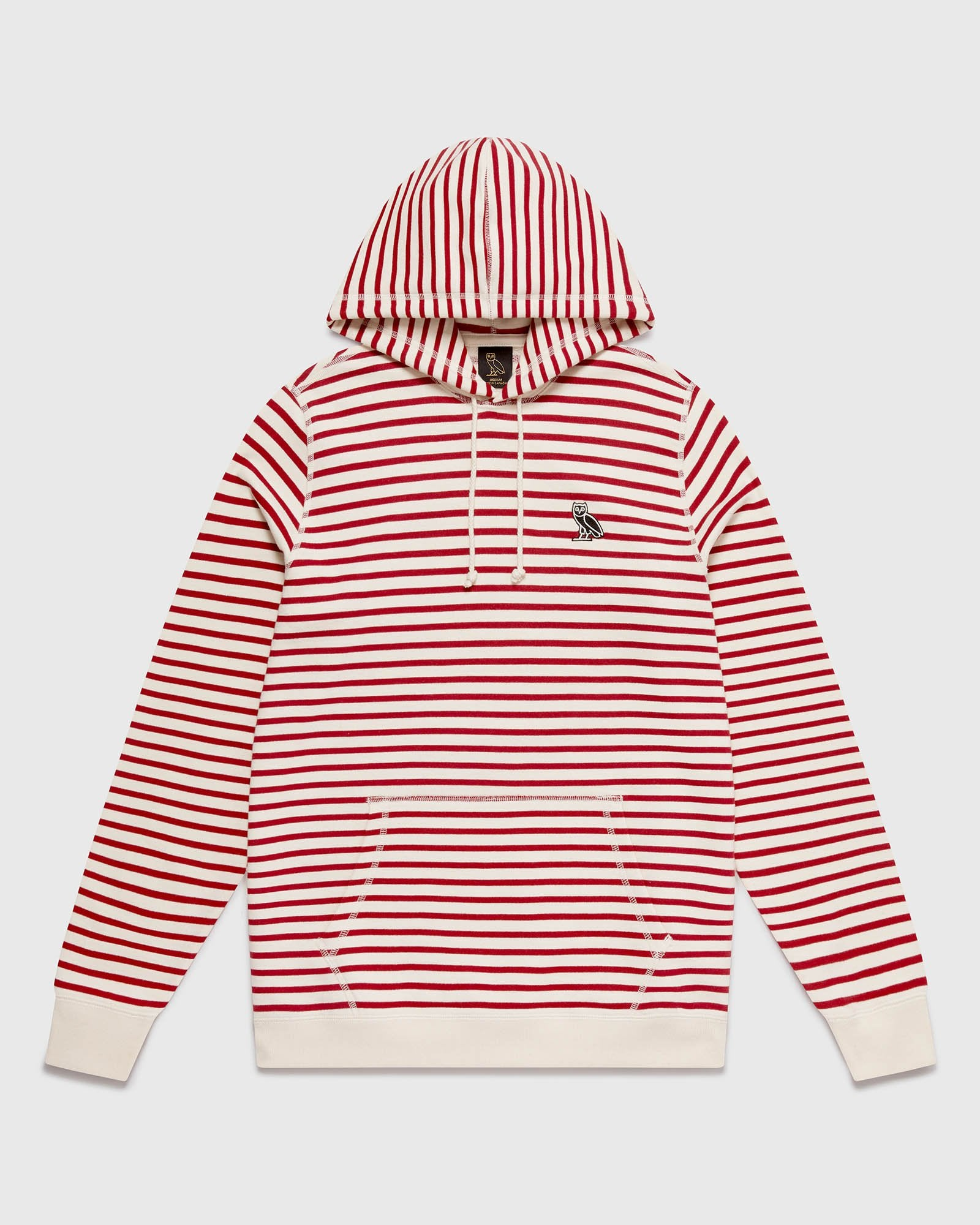 NAUTICAL STRIPE HOODIE - RED/CREAM IMAGE #1