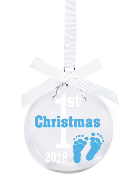 babys first christmas 2018 glass ball christmas ornament with blue feet and white ribbon - Baby Boy First Christmas Ornament