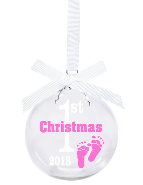 Baby's First Christmas 2018 glass ball Christmas ornament with pink ...