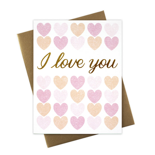 I Love You Hearts Card with Gold Foil