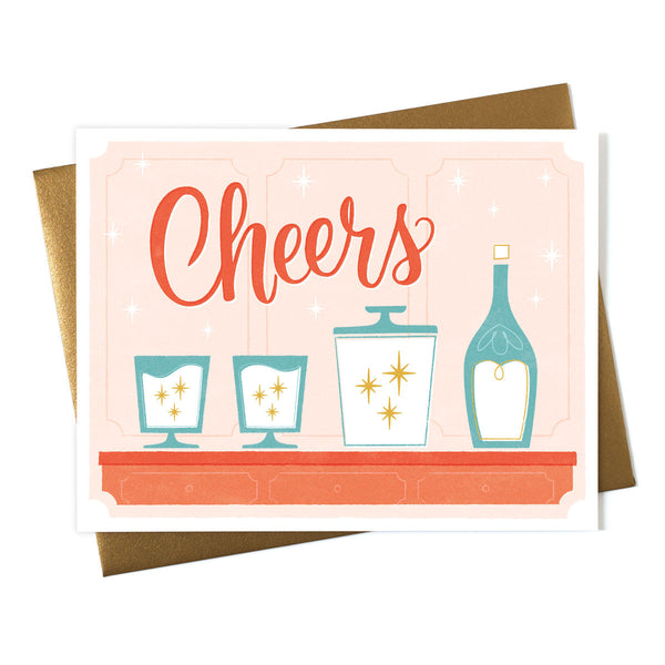 Cheers Retro Glasses in Pink Card