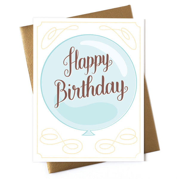Happy Birthday - Blue Balloon Card