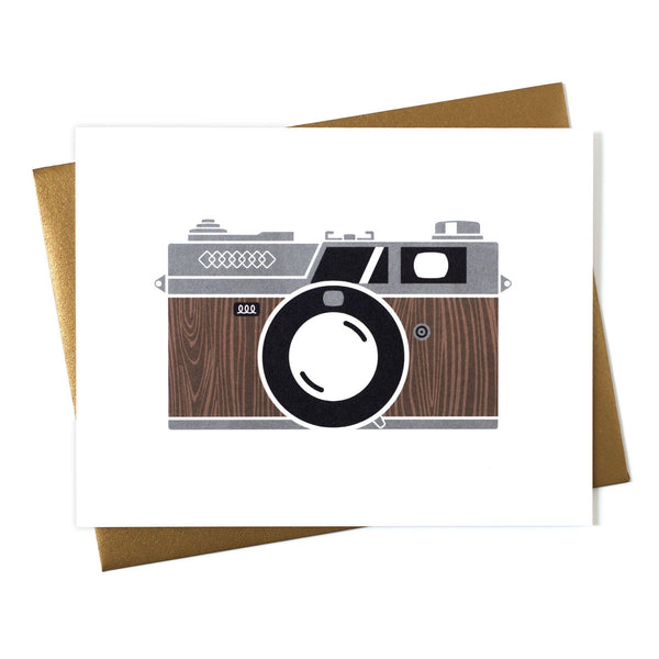 Camera Wood Grain RF Greeting Card