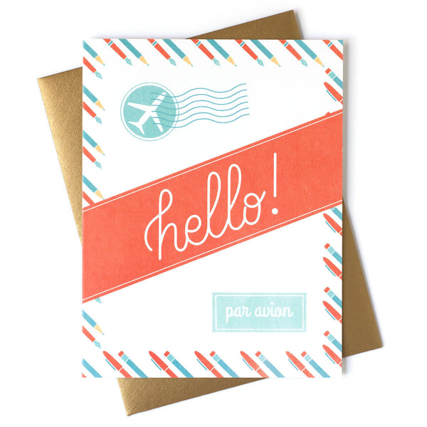 Hello Par Avion (Air Mail) Card