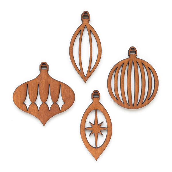 Retro Wood Ornaments Set