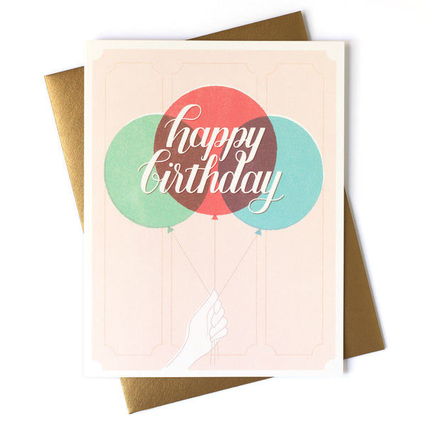 Happy Birthday Holding Balloons Card