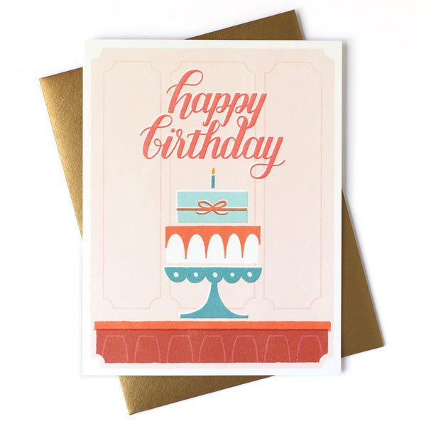 Cake in Window Happy Birthday Card