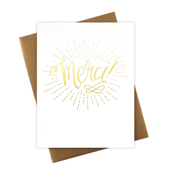Merci Thank You Card with Gold Foil