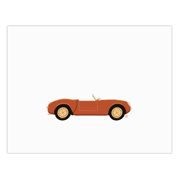 Prudence - Classic Convertible in Persimmon  - Art Print