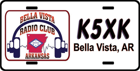 Bella Vista Radio Club White License Plate