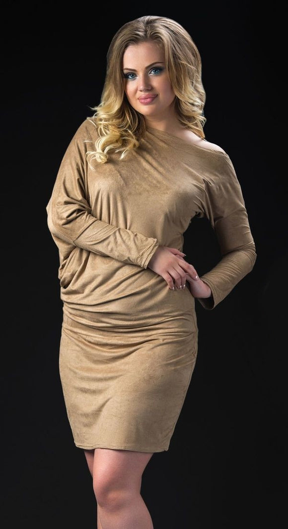 Beige Stretch Suede Dress - Kollekcio
