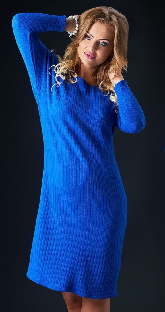 Blue Angora Knee Length Dress - Kollekcio
