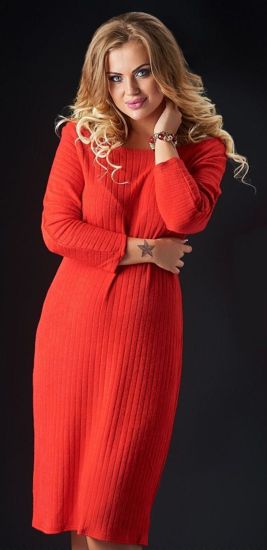 Red Angora Blend Knee Length Sweater Dress - Kollekcio