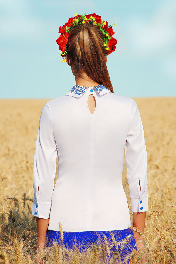 UGHI White Blouse with Blue Decoration Around Collar and Waist - Kollekcio  - 1