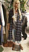 Gray Plaid Long Sleeve Women's Robe Style Jacket Dress