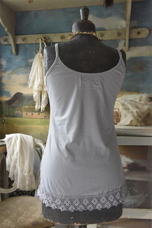 GRAY-BLUE SHORT TANK