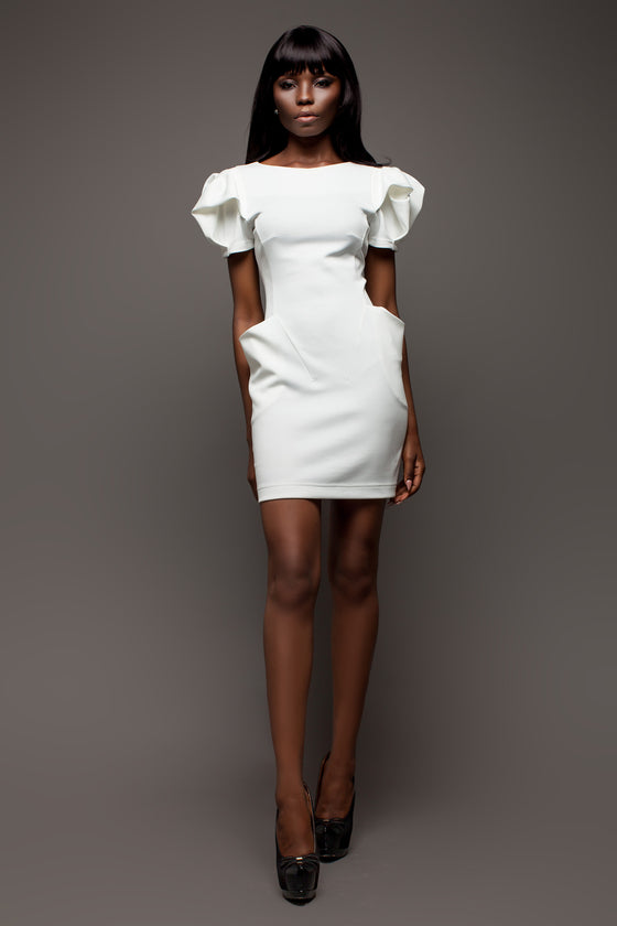 White Dress with Puffy Sleeves and Enhanced Hips - Kollekcio  - 1