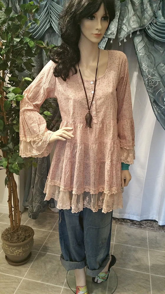 Romantic Pink Cotton Long Sleeve Tunic with Lace Decoration