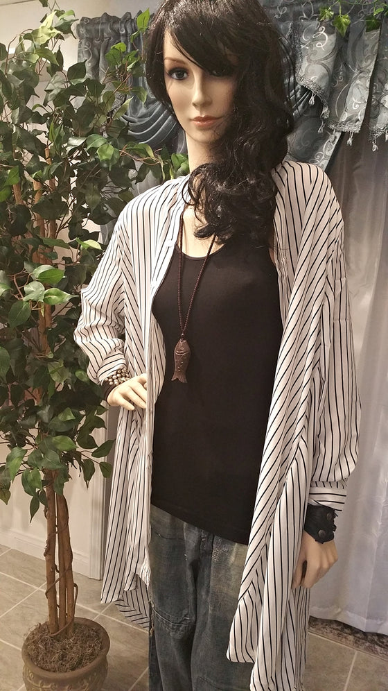 Black & White Vertical Strip Oversize Tunic Shirt - Bohemian Style