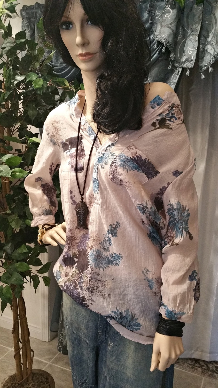 Floral Long Sleeve Women's Blouse
