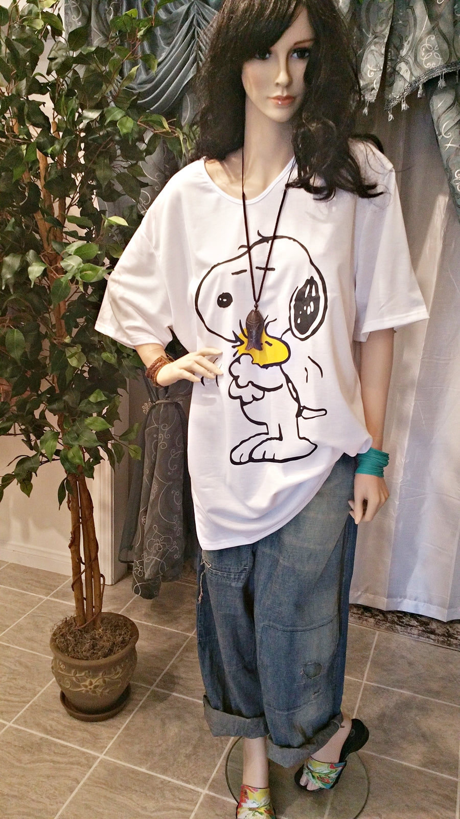 White Oversized Extra Long Cartoon T-Shirt